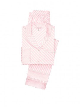 Фото Сатиновая пижама Victoria's Secret из серии The Satin - Stripe Bias Pink Stripe