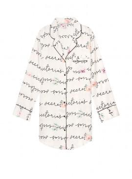 Фото Сатиновая ночная рубашка Victoria's Secret - White Floral Scroll Print