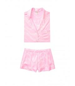 Сатиновая пижамка с шортиками Victoria's Secret из сериии The Sleepover - Pink Victoria Secret Wave