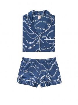 Фото Сатиновая пижамка с шортиками Victoria's Secret из сериии The Sleepover - Navy Victoria Secret Waves