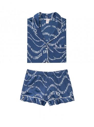 Сатиновая пижамка с шортиками Victoria's Secret из сериии The Sleepover - Navy Victoria Secret Waves