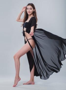 Длинная пляжная туника be Angel Black
