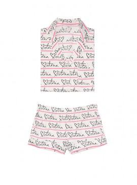 Фото Сатиновая пижамка с шортиками Victoria's Secret из сериии The Sleepover - White Victoria Script