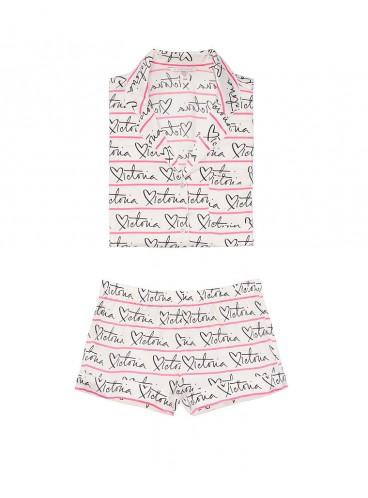 Сатиновая пижамка с шортиками Victoria's Secret из сериии The Sleepover - White Victoria Script