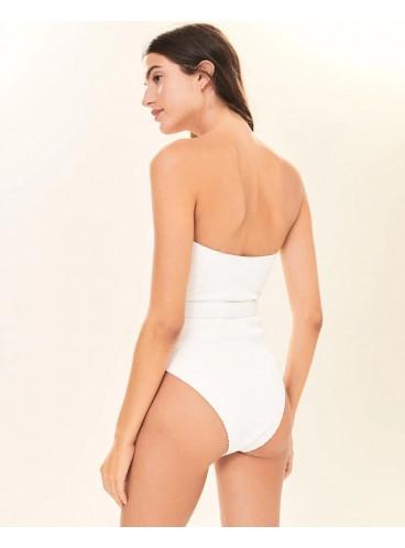 Стильный рифленый купальник-монокини Abercrombie & Fitch - White