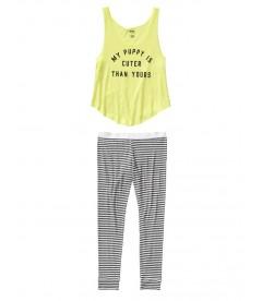 Пижама от Victoria's Secret PINK - Pure Black And White Narrow Stripes