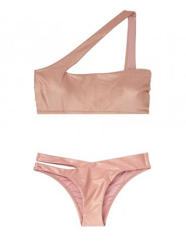 NEW! Стильный купальник Metallic One-shoulder от Victoria's Secret - Rose Sand