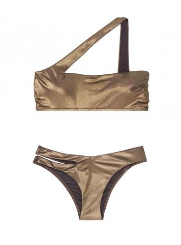 NEW! Стильный купальник Metallic One-shoulder от Victoria's Secret - Dark Gold