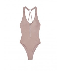 NEW! Стильный монокини Zip V-neck One-piece от Victoria's Secret - Silver Mirage