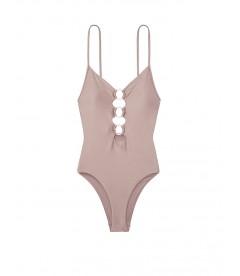 NEW! Стильный монокини Zip V-plunge One-piece от Victoria's Secret - Silver Mirage