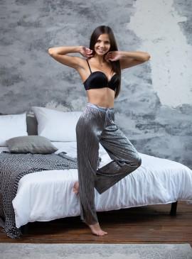 Фото Пижамные штаники Shine Pleat от Victoria's Secret - Pure Black