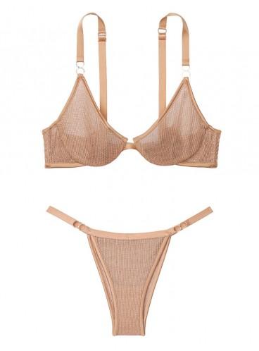 Комплект бeлья Chainmail Demi из коллекции Luxe Lingerie от Victoria's Secret - Gold Chain