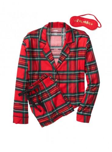 Подарочный набор: пижамка с шортами + повязка для сна - Horizontal Holiday Plaid