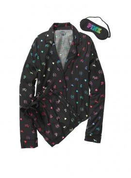 Фото Подарочный набор: пижамка с шортами + повязка для сна - Pure Black
