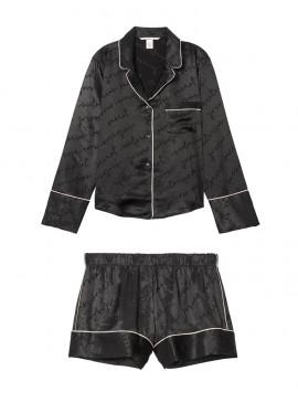 Фото Сатиновая пижамка с шортиками Satin Logo от Victoria's Secret - Pure Black