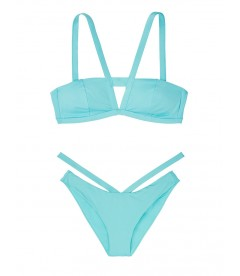 NEW! Стильный купальник Cutout V-strap Bandeau от Victoria's Secret - Blue Sage