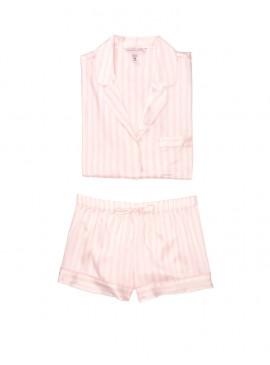 Фото Сатиновая пижамка с шортиками Victoria's Secret из сериии Satin Short - White Pink