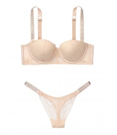 Комплект белья Lightly Lined Jewel Strap от Victoria's Secret - Champagne