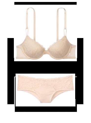 Комплект бeлья Lightly Lined из коллекции Favorite T-Shirt от Victoria's Secret - Champagne Lace