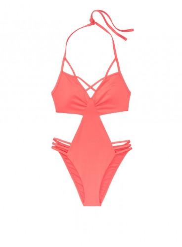 NEW! Стильный монокини Strappy Plunge от Victoria's Secret - Coral Blush