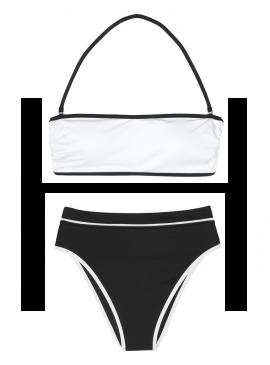 Фото NEW! Стильный купальник Contrast Bandeau от Victoria's Secret - White Black