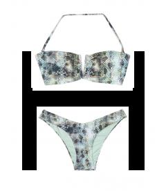 NEW! Стильный купальник V-splice Bandeau от Victoria's Secret - Mint Snake