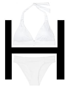 Фото NEW! Стильный купальник Ribbed Fixed Halter от Victoria's Secret - White