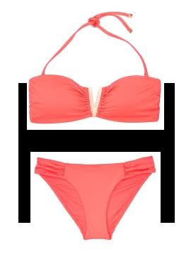 Фото NEW! Стильный купальник V-splice Hardware Bandeau от Victoria's Secret - Coral Blush