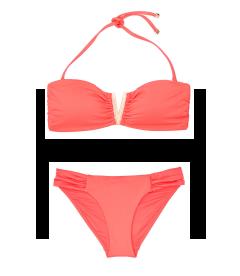 NEW! Стильный купальник V-splice Hardware Bandeau от Victoria's Secret - Coral Blush