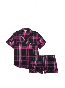 Фото Пижамка с шортиками Victoria's Secret из сериии Sleepsoft - Black Fuchsia Plaid