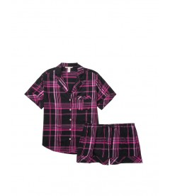 Пижамка с шортиками Victoria's Secret из сериии Sleepsoft - Black Fuchsia Plaid