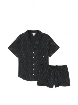 Фото Пижамка с шортиками Victoria's Secret из сериии Sleepsoft - Black Pin Dot