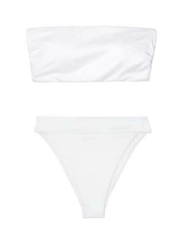 NEW! Стильный купальник Ribbed Bandeau от Victoria's Secret - White