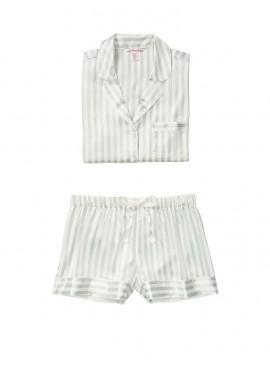 Фото Сатиновая пижама с шортиками от Victoria's Secret - White/Grey Casual Stripe