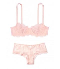 Комплект белья Wicked Unlined Lace-Up Balconette от Victoria's Secret - Purest Pink