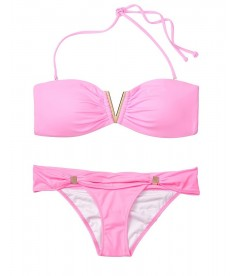 NEW! Стильный купальник Venice V-hardware Bandeau от Victoria's Secret - Pink Splash