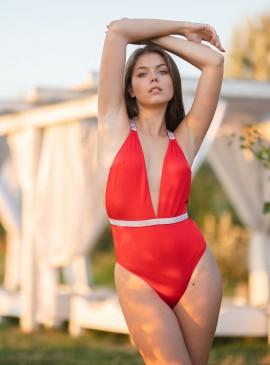 Фото NEW! Стильный монокини Shine Strap Montanita Plunge от Victoria's Secret - Red