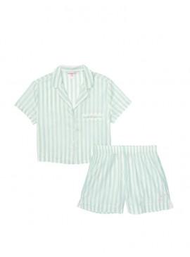 Фото Хлопковая пижамка с шортиками Victoria's Secret - Mint Stripe