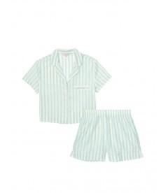 Хлопковая пижамка с шортиками Victoria's Secret - Mint Stripe