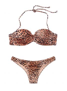 Фото Стильный купальник Mallorca Twist-front Bandeau Itsy от Victoria's Secret - Natural Leopard